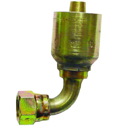 """Seal LOK 90* Swivel 8-8 This fitting is made to be crimped. Fits ½"""" or #8 double braided steel hydraulic hose. Also known as an o-ring face seal fitting. It is zinc plated to prevent rust. 1J943-8-8,PAR,Parker"""