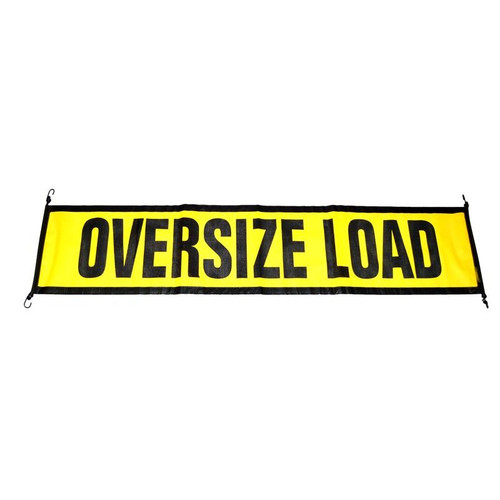 """Comply with road safety regulations with this ECTTS EZ Hook Oversize Load Sign. Its heavy-duty cord uses a bungee-style attachment with steel hooks to fasten easily to your trailer or load, and the black and yellow poly mesh vinyl material allows airflow that helps keep it in place.  - Dimensions: 18"""" x 84"""" 