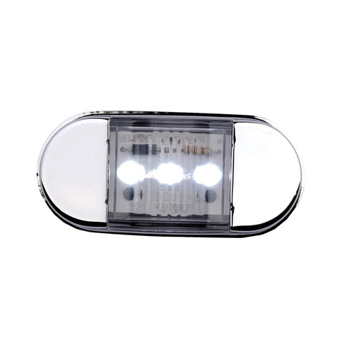 Use this Maxxima Stainless Steel Bezel Courtesy Light in any low-light area such as the rear of a truck or to add lighting underneath a trailer. The compact design allows for discreet installation while providing reliable bright light from three LEDs.