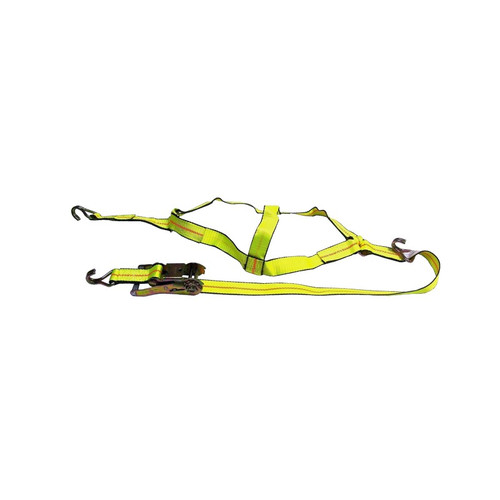 Secure a vehicle's wheel on a trailer safely with this Basket Strap. It includes a ratchet to adjust the tension appropriately, and the convenient double J hooks attach easily to the steel parts of a trailer.