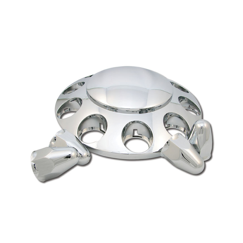 Protect your front wheels from dust and dirt with this Wheel Hubcap Kit with Nut Covers. It includes a removable hubcap, an axle cover and 10 nut covers that shield your wheel from road debris, and the chrome finish resists nicks and won't rust over time.