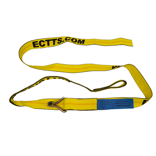 """Also coined the the Hook and Loop Strap. This 9 ft. strap is great for low profile cars and imports. 2 in. Wide x 9 ft. Long Strap with Hook and Loop Passes through wheel slots similar to a """"D"""" Ring strap Tapered loop end can pass through smaller wheel slots."""