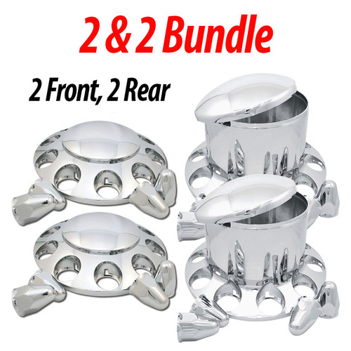 Includes the following: (2 each) Chrome Plastic Front Axle Cover Kit - With Axle Cover, Removable Hubcap and 10 Nut Covers. (2 each) Chrome Plastic Rear Axle Cover Kit - Comes With Axle Cover, Removable Hubcap and 10 Nut Covers.