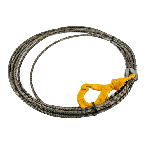 Winch Cable w/ Self Locking Hook | 3/8in x  100ft Fiber Core
