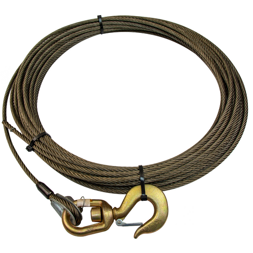 Wire Rope Winch Cable w/ Swivel Hook | 3/8in x 100ft Fiber Core