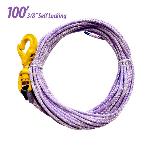 Tow Cable w/ Self Locking Hook | 3/8 in. x 100 ft. Synthetic