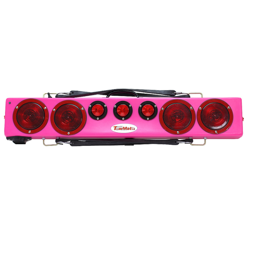 """Pink 36"""" wireless truck bar system provides stop, tail, and turn w/ side marker lights on each end and three DOT lights in the center of the bar. This system comes complete with your choice of transmitter and a 7-pin plug to be used to connect 12VDC power to recharge the truck bar. Range 1000 feet."""
