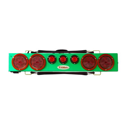 "This image typical of the Green 36"" wireless truck bar system provides stop, tail, and turn w/ side marker lights on each end and three DOT lights in the center of the bar. This system comes complete with your choice of transmitter and a 7-pin plug to be"