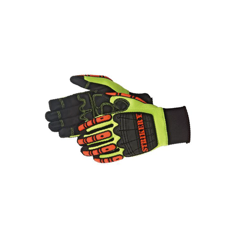 DAYBREAKER Striker V - impact glove  TPR at back hand, finger, and finger tips for impact absorption. Premium quality synthetic leather Non-slip SBR G-patch palm (with foam padding), thumb crotch, and fingertips reinforcement. Double stitched cuff for extra durability. Neoprene cuff with pull tab for easy on and off.