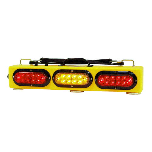 """25"""" wireless tow light with three 100LB pull magnets and two heavy duty bungee cords on top. The SPR25 provides stop, tail, and turn signals in addition to an amber flasher in the center."""