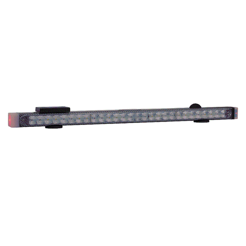 """59"""" LED light bar features four evenly spaced light heads on the front, four on the back, and new style end caps that are active. In addition, the bar features two high intensity work lights and 'green wire' compatible wireless S/T/T lights. Includes HWTX-G hardwire wireless transmitter."""