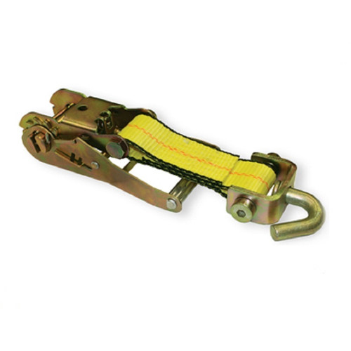 """This 2"""" Wide Handle Ratchet comes with a Short Webbed Strap and an attached Forged Swivel J Hook. Ratchet meets or exceeds OEM specifications and features a double-locking mechanism."""