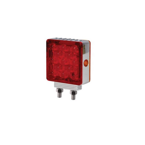 LIGHT PEDESTAL SQR RH R/Y   LED/DBL POST/STOP/MAXX