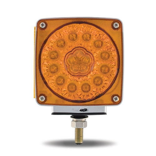Amber/Red Square LED | Double Face, Single Post, Driver's Side