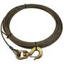 Winch Cable Wire Rope w/ Swivel Hook   3/8in x 75ft Steel Core