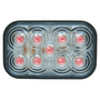 Maxxima - 5 in. Red Rectangular S/T/T Light | Clear Lens, 9 LED