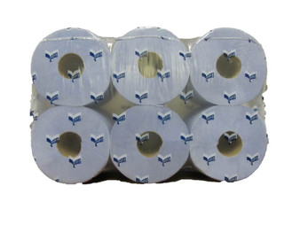 2PLY BLUE EMBOSSED CENTRE FEED ROLLS
