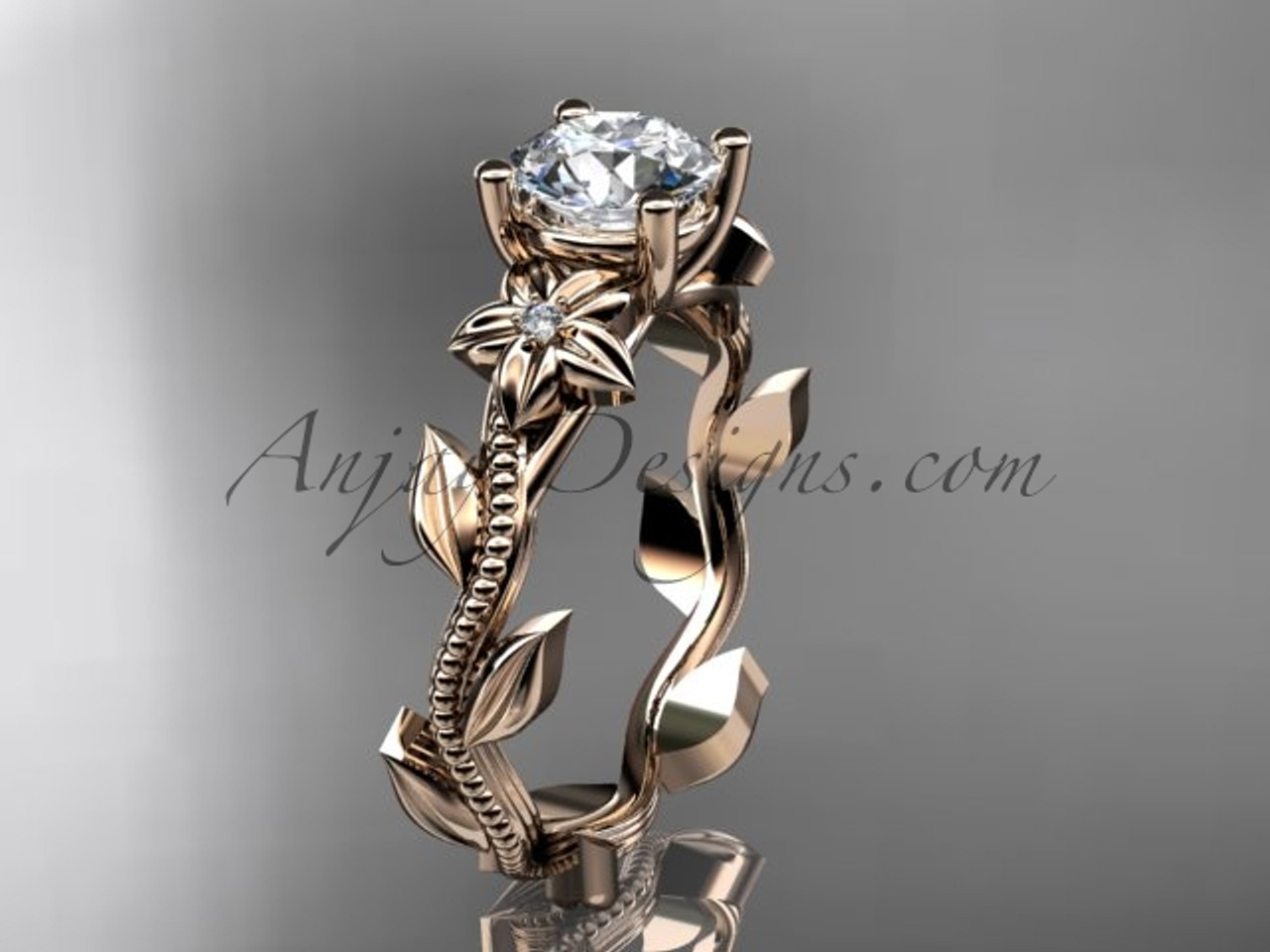 Rose Gold Ring Design For Female Unique Flower Rings Adlr238
