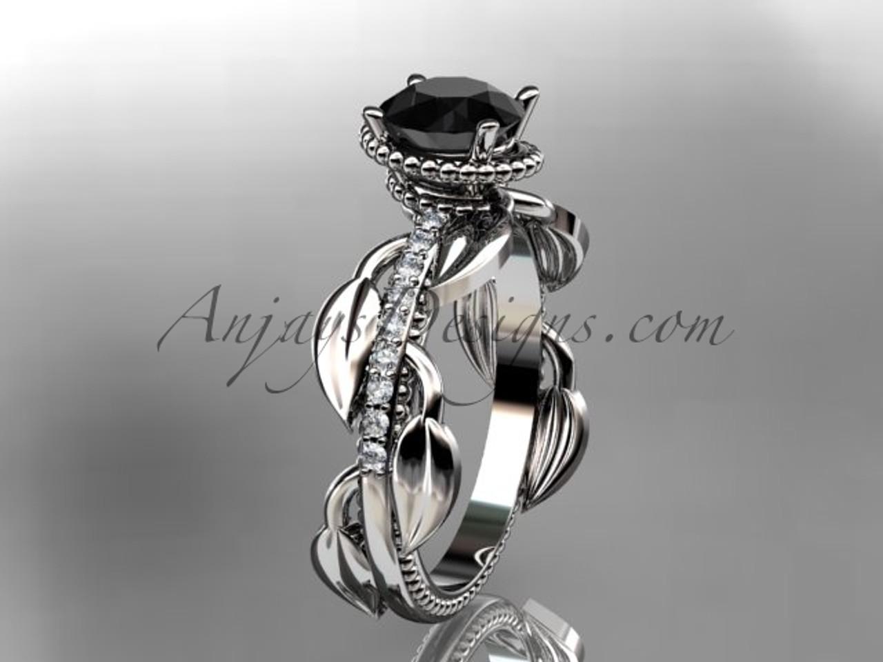 39fbcb5f42300 Unique Platinum diamond leaf and vine diamond engagement ring with a Black  Diamond center stone ADLR231