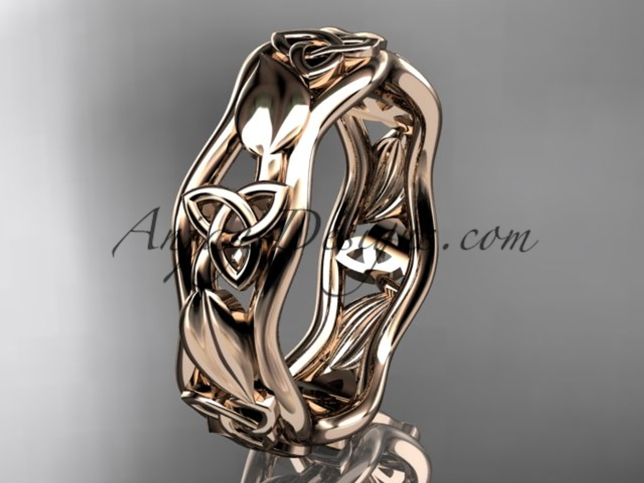 Irish Wedding Rings.14kt Rose Gold Celtic Trinity Knot Engagement Ring Wedding Band Ct7105b