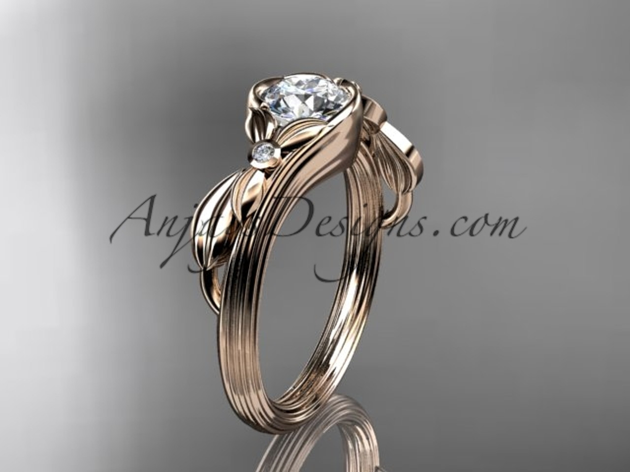 Unique 14kt Rose Gold Floral Engagement Ring With A Forever One Moissanite Center Stone Adlr324