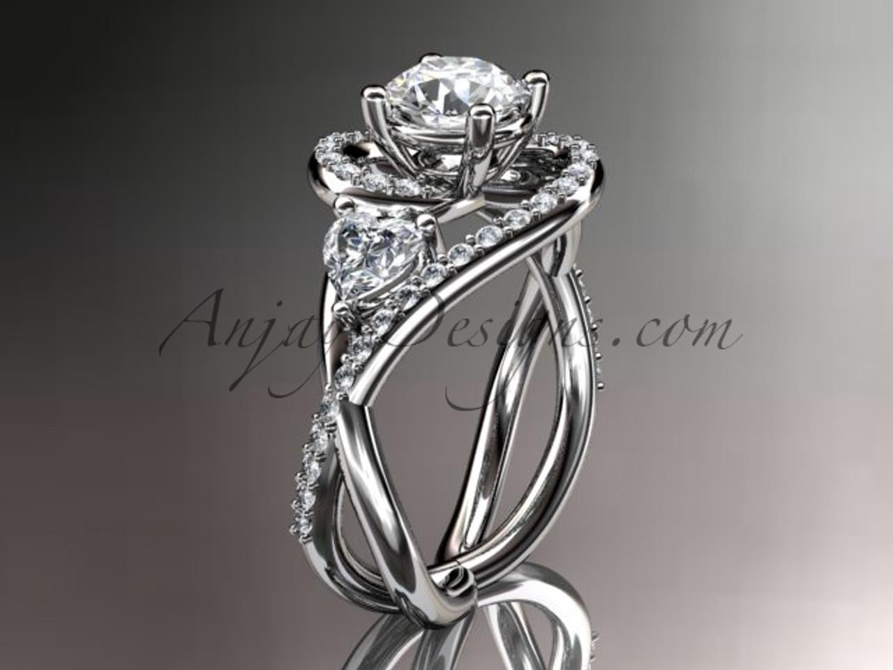 Unusual Wedding Ring Platinum Ring With Moissanite Adlr320