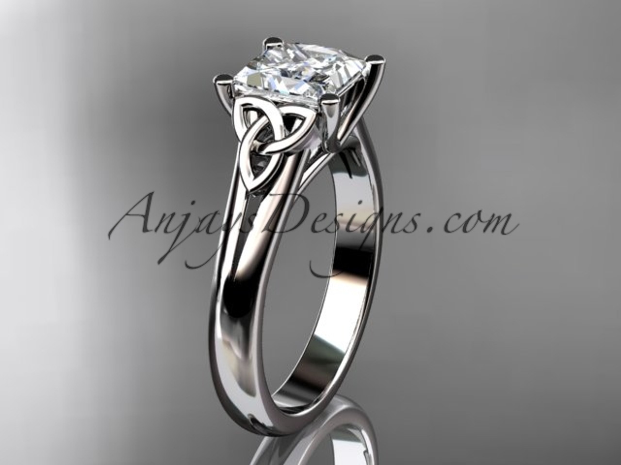 Princess Cut Engagement Ring White Gold Celtic Ring Ct7143