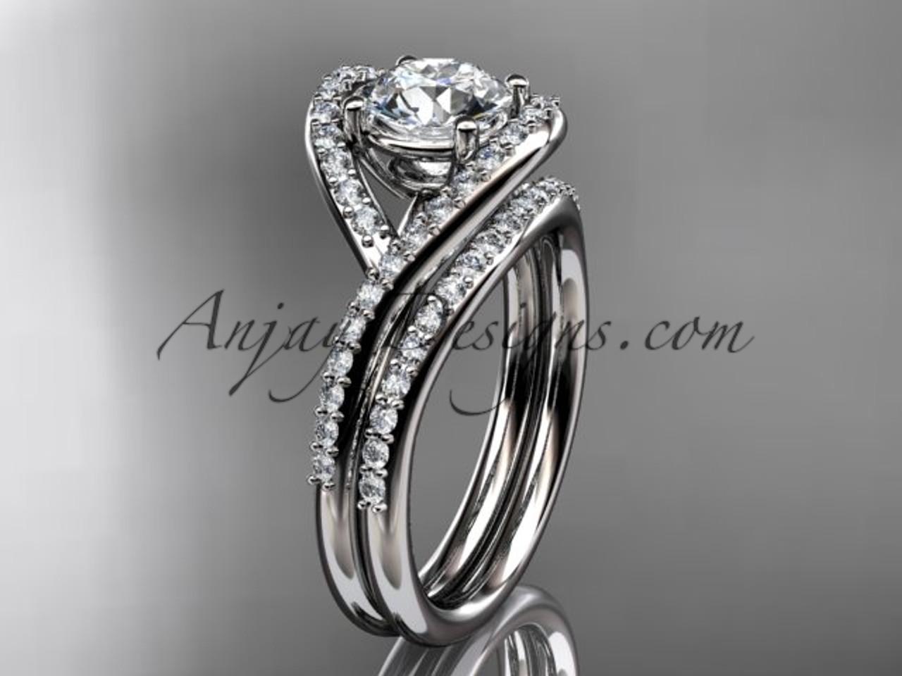 14kt White Gold Diamond Wedding Ring Engagement Set Adlr383s