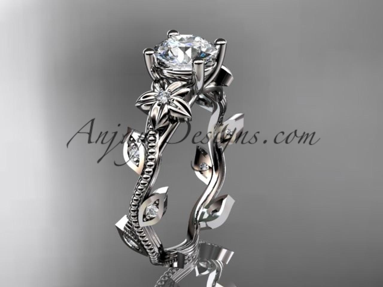 White Gold Leaf Flower Diamond Ring For Women Adlr151