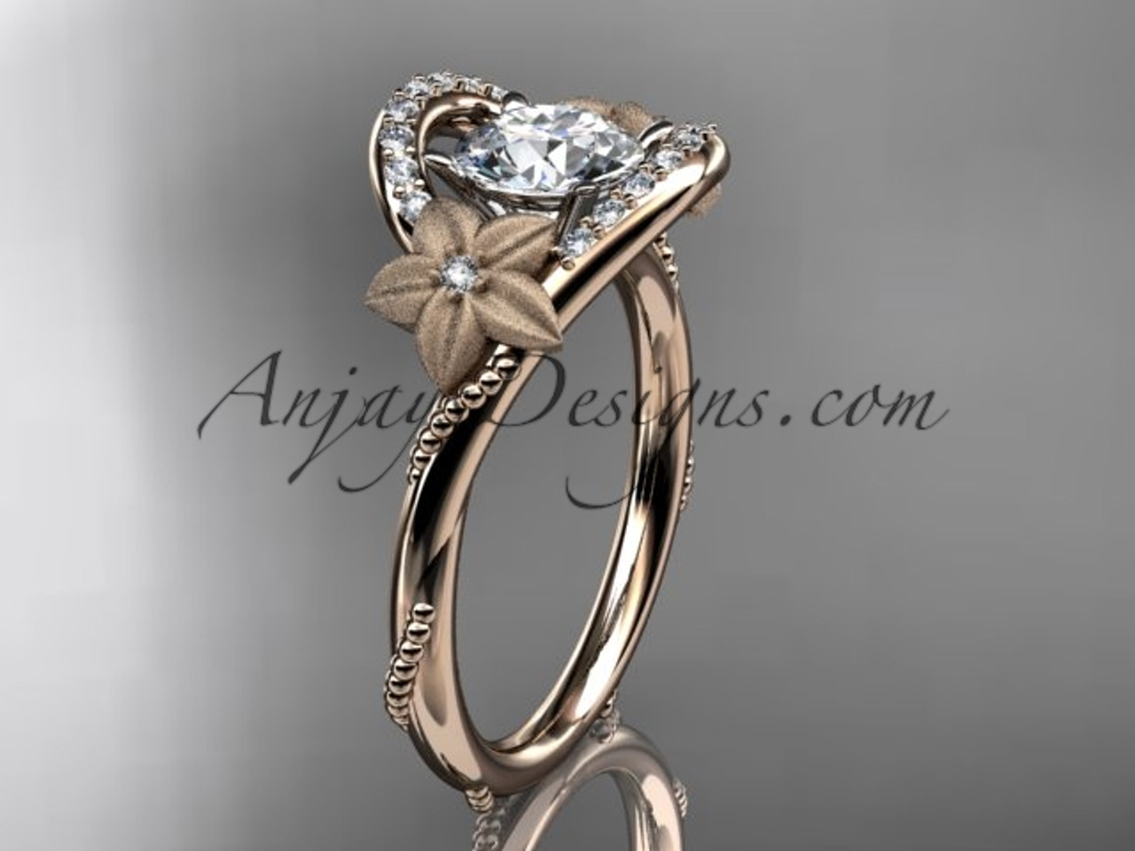 Flower Diamond Rings Rose Gold Unique Marriage Ring Adlr166