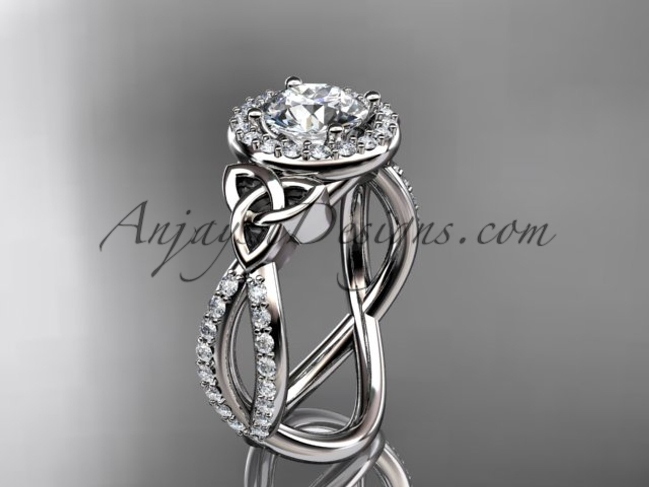 Irish Wedding Rings.14kt White Gold Diamond Celtic Trinity Ring Triquetra Ring Irish Engagement Ring Ct7374