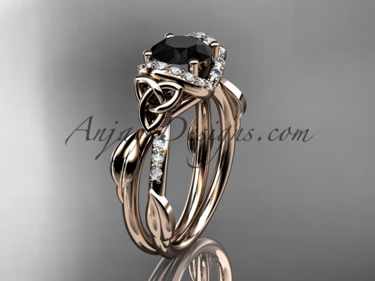 Rose Gold Black Diamond Irish Celtic Engagement Ring Ct7274