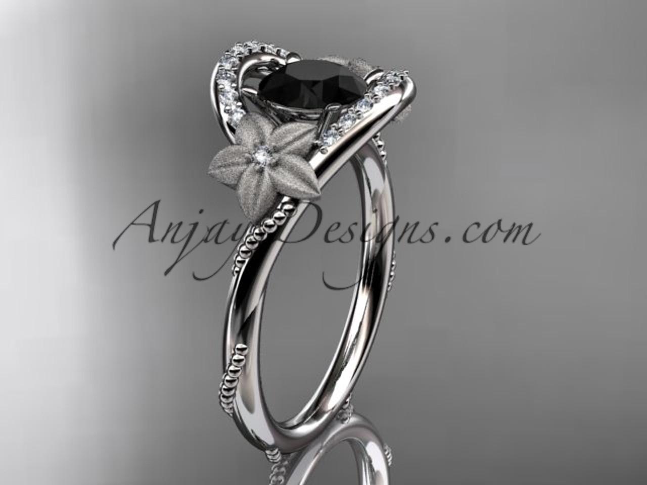 Black Diamond Ring For Women White Gold Flower Ring Adlr166