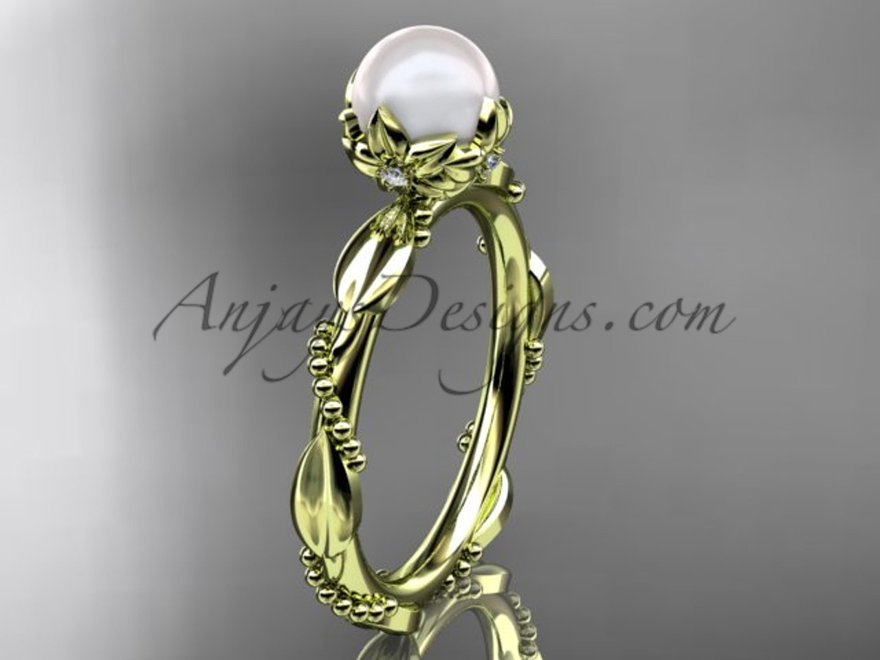 Unique Pearl Engagement Rings Yellow Gold Pearl Ring Ap178