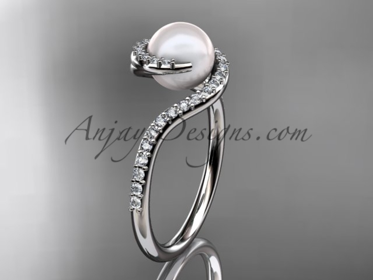 Pearl Proposal Ring White Gold Diamond Marriage Ring Vp8199