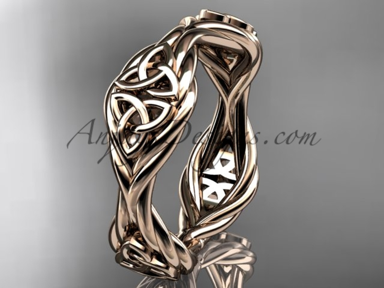 Celtic Knot Wedding Bands.14k Rose Gold Rope Celtic Trinity Knot Wedding Band Rpct998g