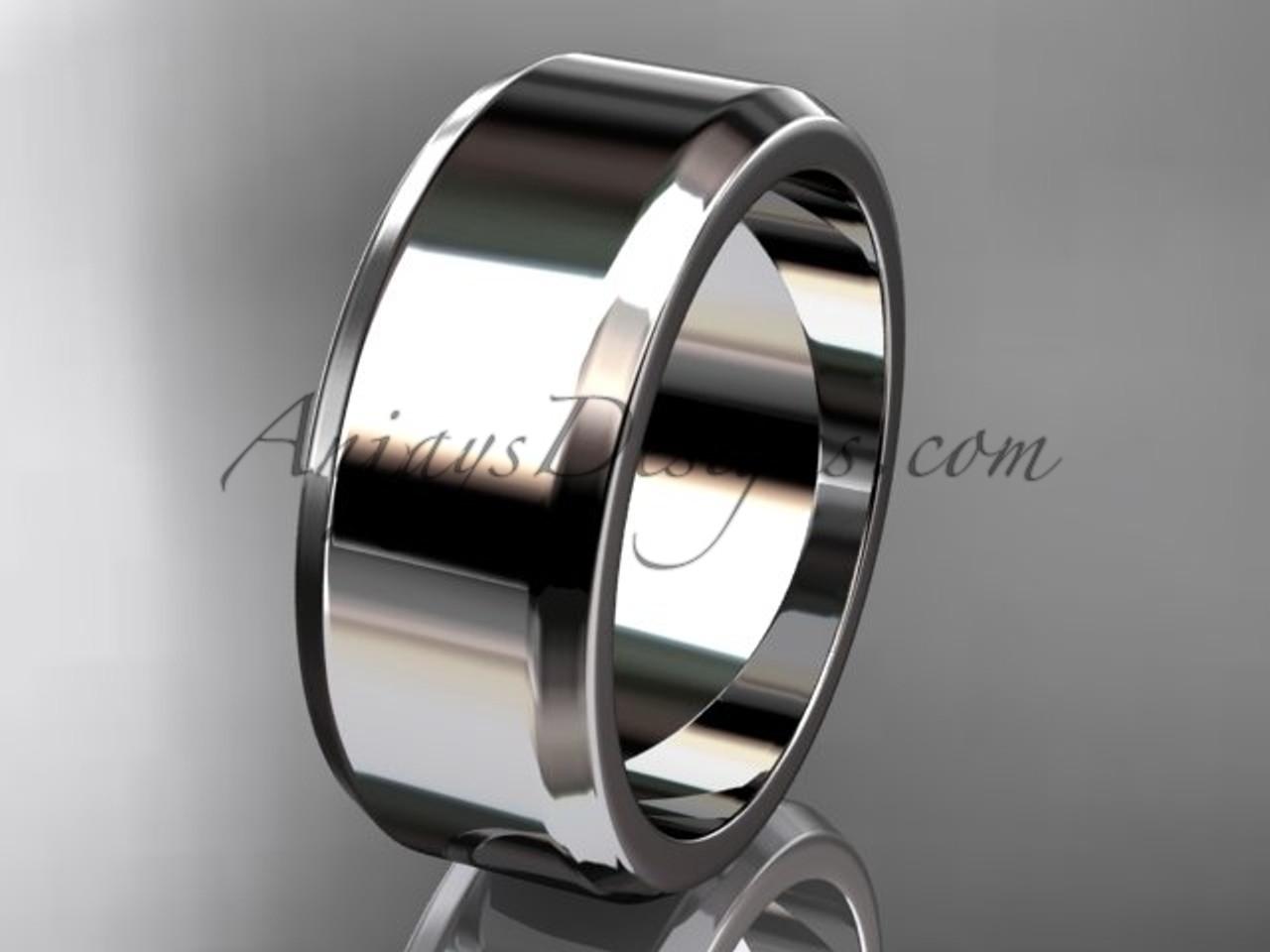 Platinum Wedding Bands For Men.Platinum Plain 8mm Wide Engagement Rings For Men Wb50708g