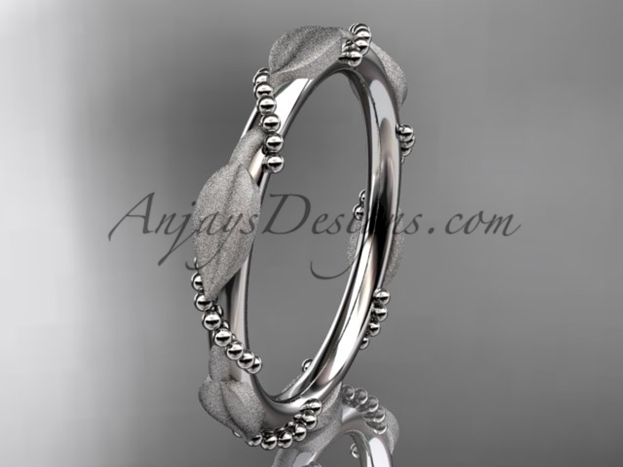 White Gold Wedding Bands for Women Leaf Ring ADLR178B 54a26746b