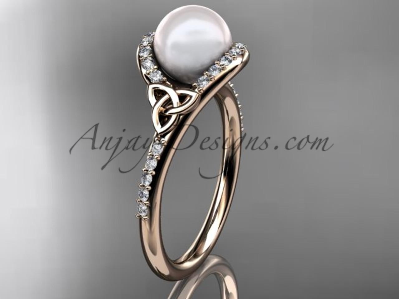 Pearl Wedding Rings.Irish Pearl Engagement Rings 14kt Rose Gold Diamond Celtic Trinity Knot Wedding Ring Ctp7317