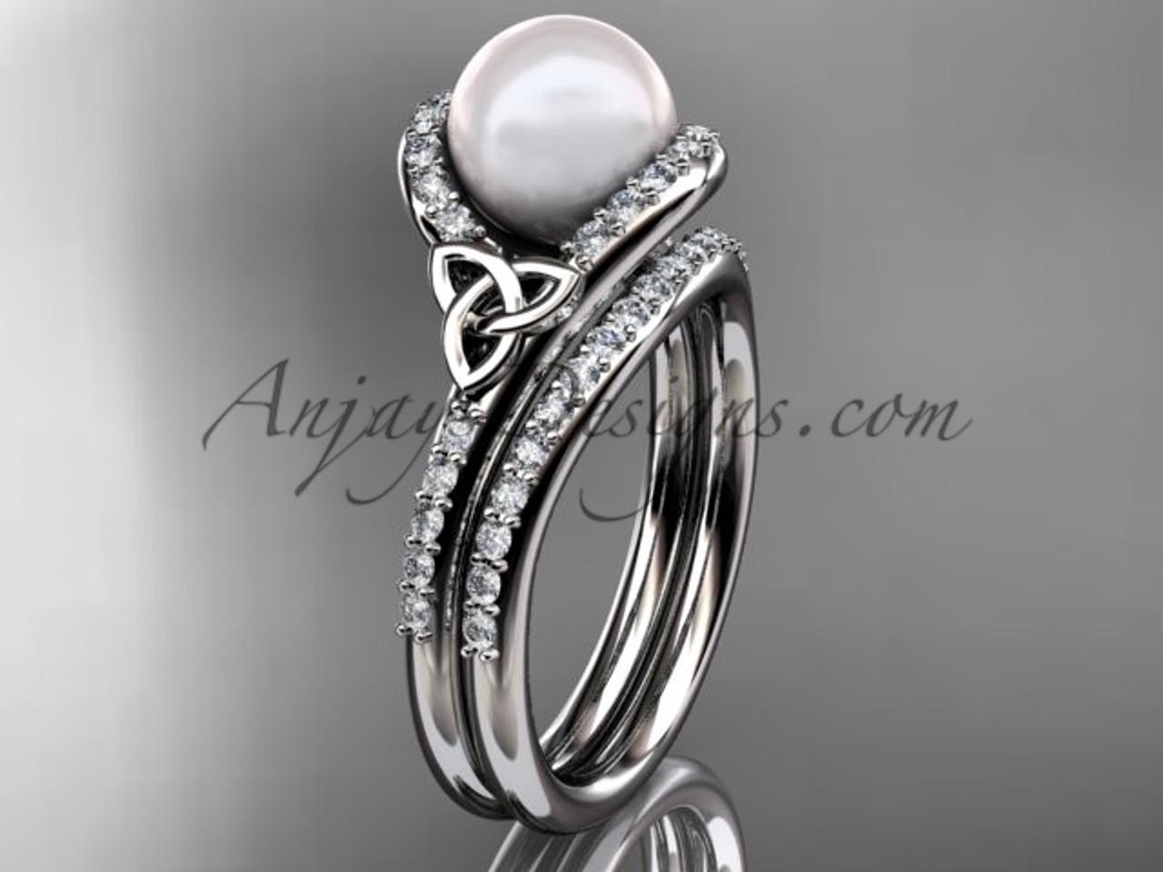 Pearl Wedding Rings.Pearl Celtic Wedding Set Platinum Diamond Irish Trinity Knot Engagement Ring Ctp7317s