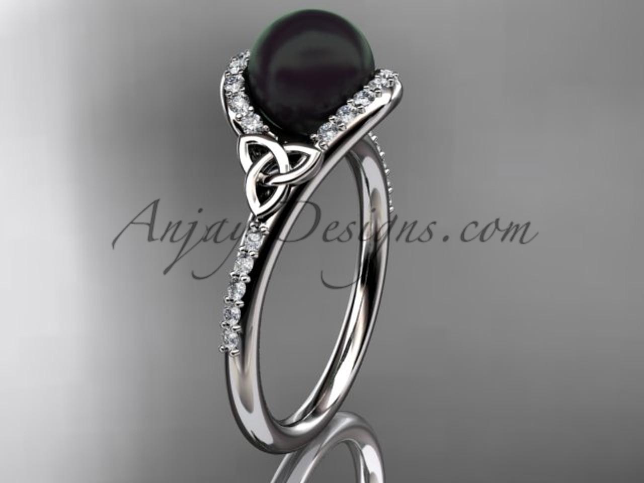 Pearl Wedding Rings.Irish Black Cultured Pearl Engagement Rings Platinum Diamond Celtic Trinity Knot Wedding Ring Ctbp7317
