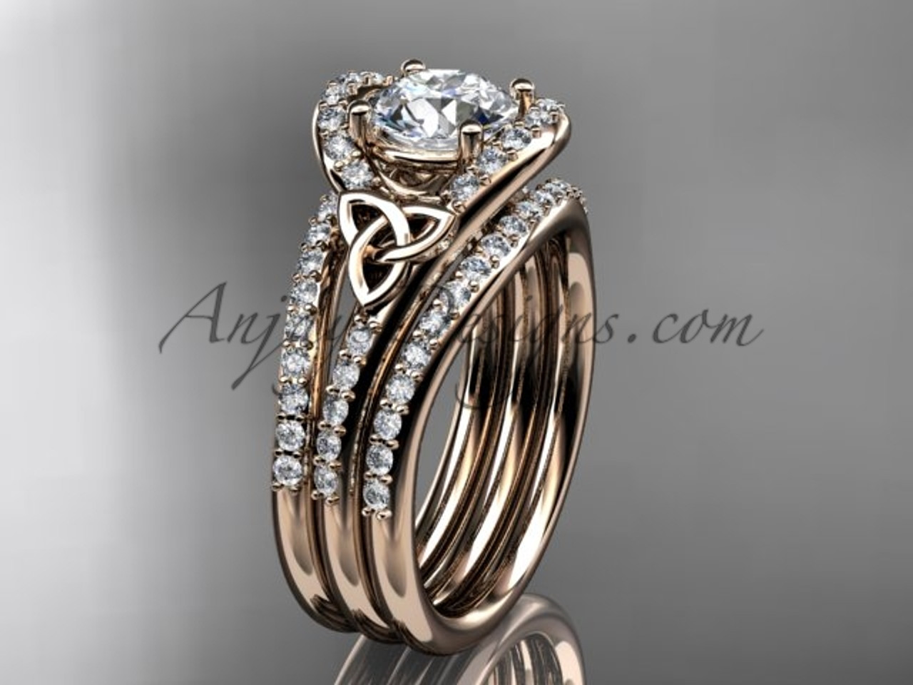 Irish Wedding Rings.Irish Celtic Wedding Ring Set 14kt Rose Gold Moissanite Trinity Knot Engagement Ring Ct7317s