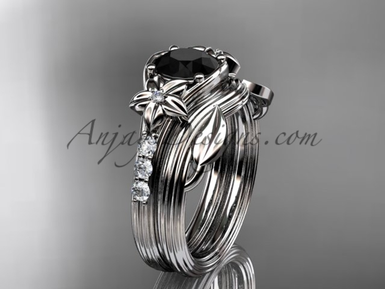 Black Diamond Wedding Ring.Black Diamond Flower Wedding Sets Platinum Diamond Floral Engagement Ring Adlr333s