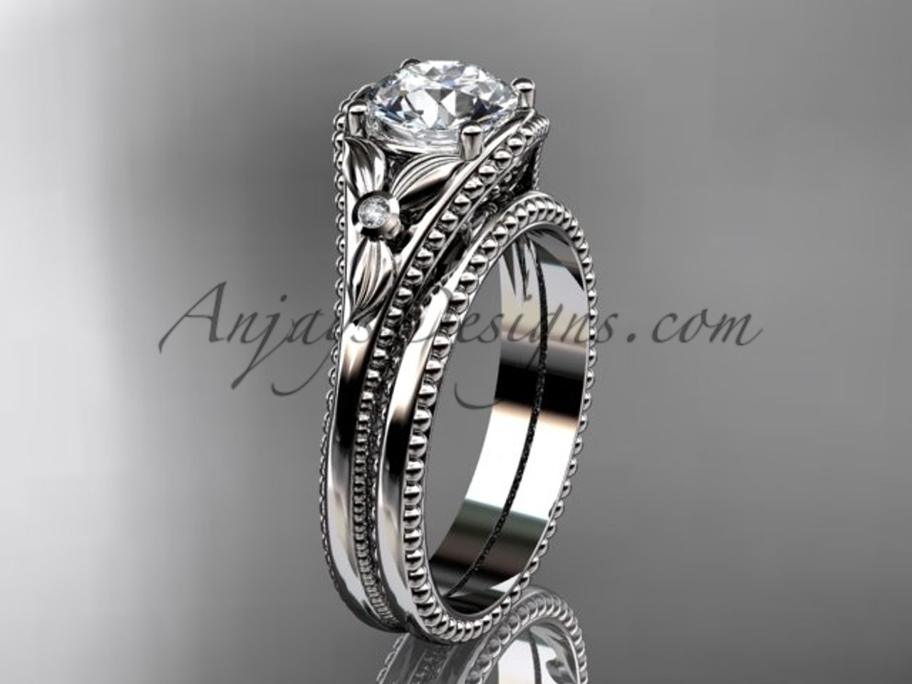 Platinum Flower Diamond Unusual Bridal Set Adlr377s
