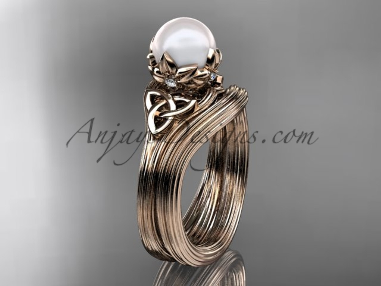 Pearl Wedding Rings.Pearl Triquetra Celtic Knot Engagement Ring 14kt Rose Gold Diamond Wedding Set Ctp7240s
