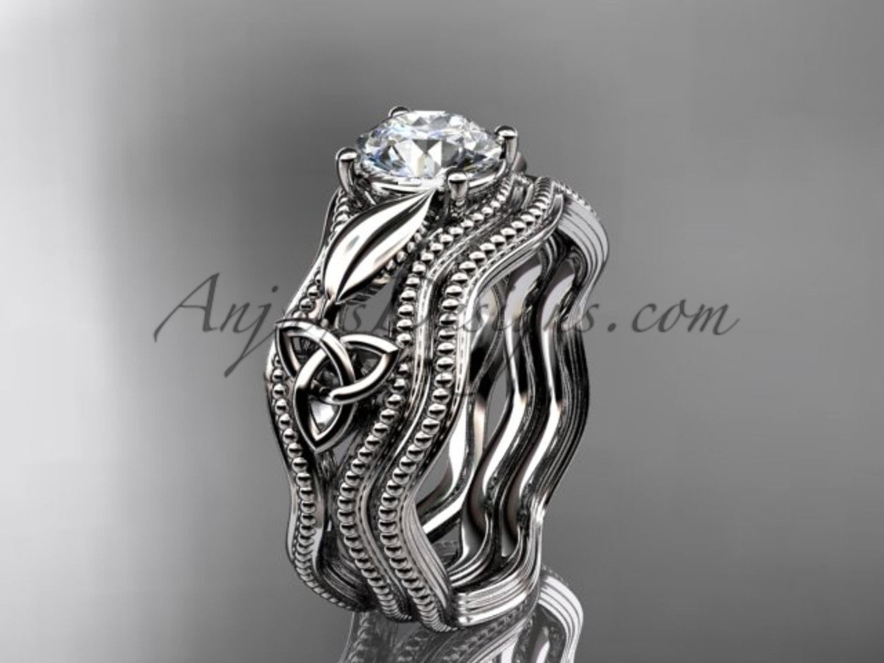 Alternative Wedding Rings.Celtic Trinity Knot Engagement Ring 14kt White Gold Wedding Set Ct7382s
