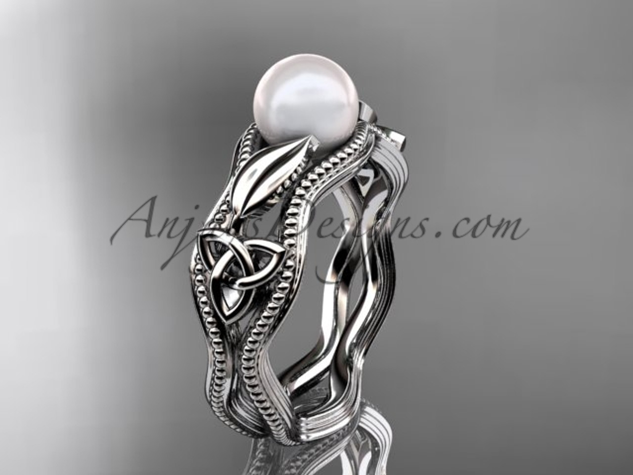Pearl Wedding Rings.Celtic Pearl Wedding Ring 14kt White Gold Bridal Ring Ctp7382