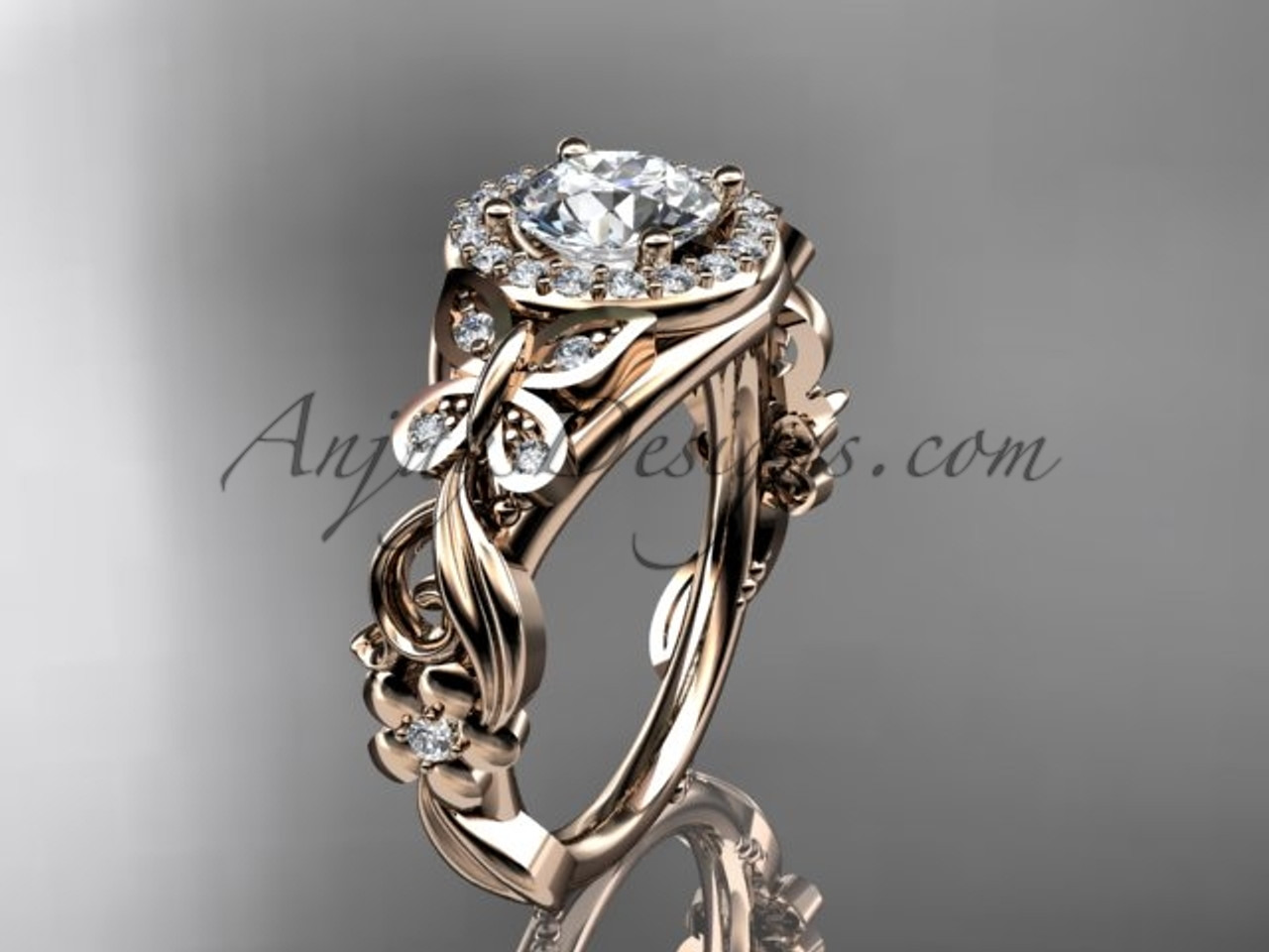 15ad162ea0ab2 Butterfly Engagement Ring 14kt Rose Gold Moissanite Wedding Ring ADLR525