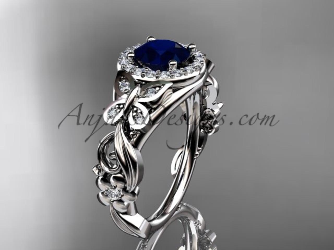 Sapphire Wedding Rings.Blue Sapphire Engagement Ring Platinum Diamond Butterfly Wedding Ring Adbs525