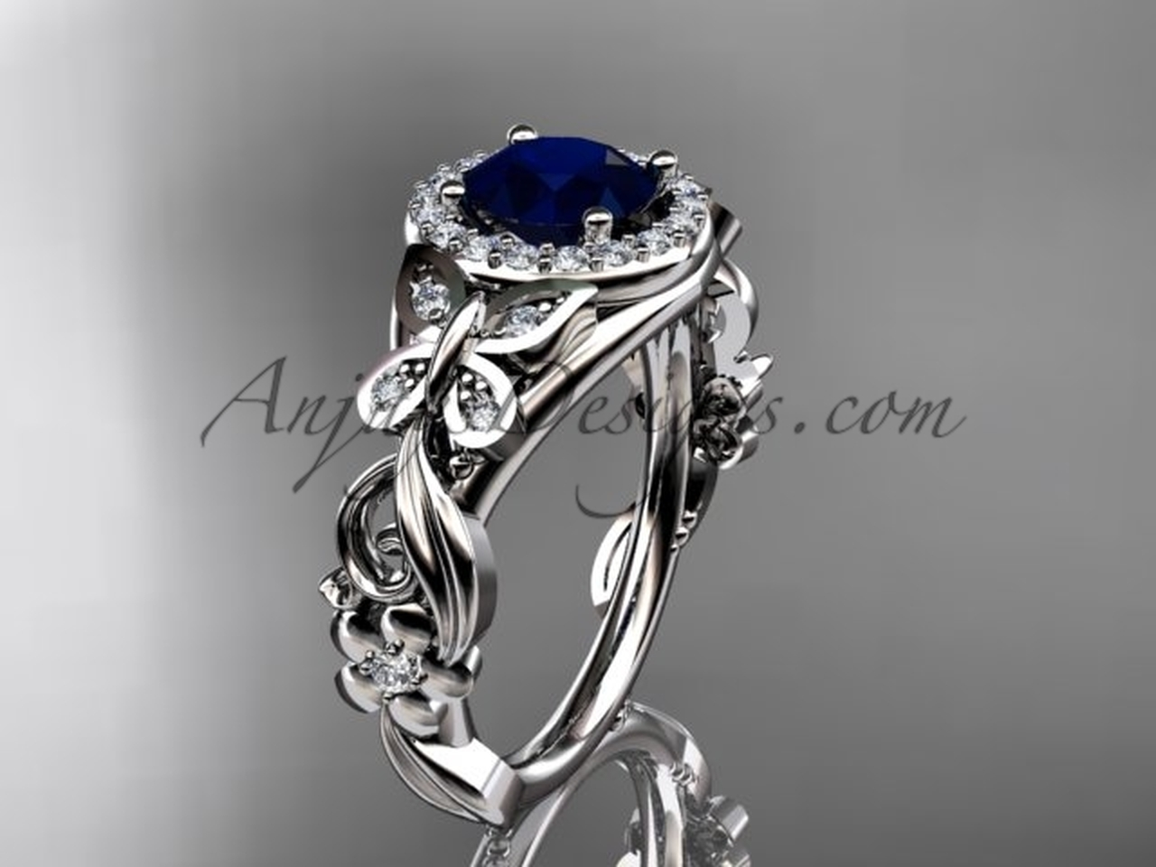 Blue Sapphire Engagement Ring, Platinum Diamond Butterfly Wedding Ring  ADBS8